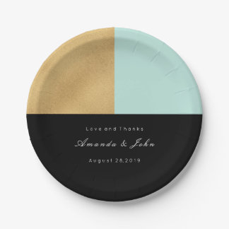 Black Tiffany Mint Gold Pastel Bridal Wedding Paper Plate