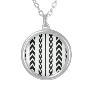 Black Tire Tread Silver Plated Necklace