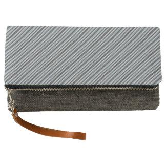 Black to Gray Stripes Clutch