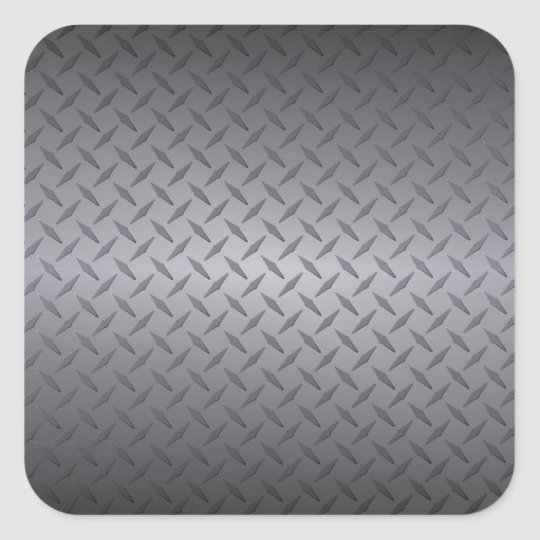 Black to Grey Fade Diamondplate Steel Background Square Sticker