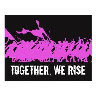 """Black """"Together, We Rise"""" Postcard"""