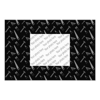 Black tools pattern photographic print
