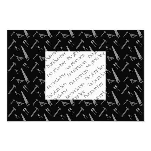 Black tools pattern photographic print