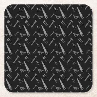 Black tools pattern square paper coaster