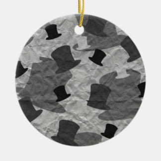 Black Top Hat Camo Ceramic Ornament