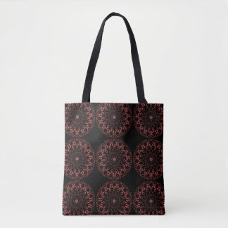 Black tote, all-over print, mandala, brown tones tote bag