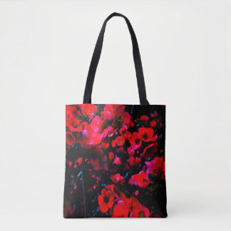 Black TOTE :  red blossoms front/huge dahlia back