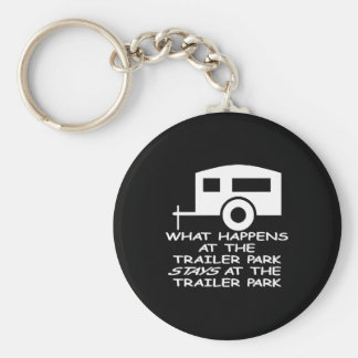 Black Trailer Park Happens Stays Basic Round Button Keychain