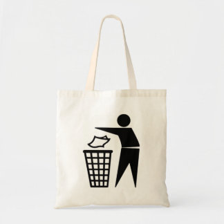 Black Trash Can Sign Tote Bag