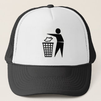Black Trash Can Sign Trucker Hat