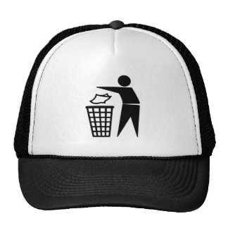 Black Trash Can Sign Trucker Hat