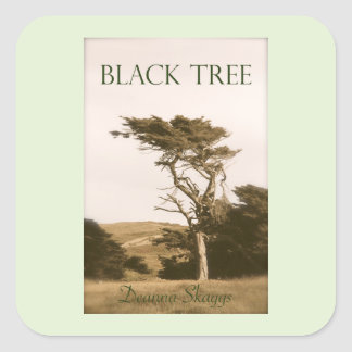 Black Tree Large Square Stickers