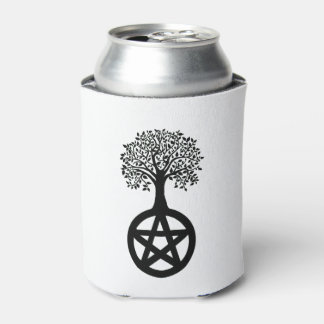 Black Tree Silhouette and Pentacle Can Cooler