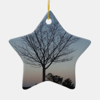 Black Tree  Silhouetted against purple pink sky Ceramic Star Ornament