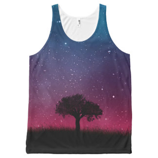 Black Tree Space Galaxy Cosmos Blue Pink Scenery All-Over-Print Tank Top