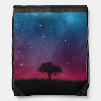 Black Tree Space Galaxy Cosmos Blue Pink Scenery Drawstring Bag