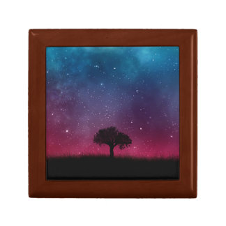 Black Tree Space Galaxy Cosmos Blue Pink Scenery Keepsake Box