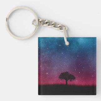 Black Tree Space Galaxy Cosmos Blue Pink Scenery Keychain