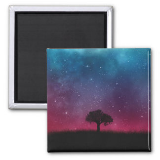 Black Tree Space Galaxy Cosmos Blue Pink Scenery Magnet