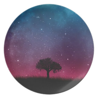Black Tree Space Galaxy Cosmos Blue Pink Scenery Plate