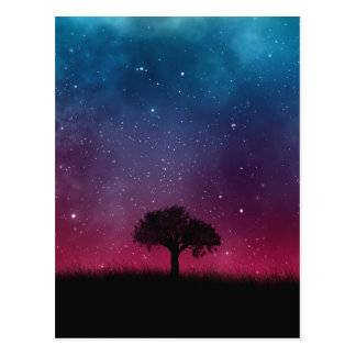 Black Tree Space Galaxy Cosmos Blue Pink Scenery Postcard