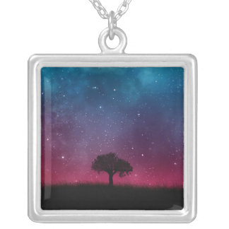 Black Tree Space Galaxy Cosmos Blue Pink Scenery Silver Plated Necklace