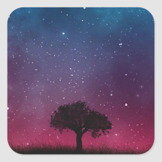 Black Tree Space Galaxy Cosmos Blue Pink Scenery Square Sticker