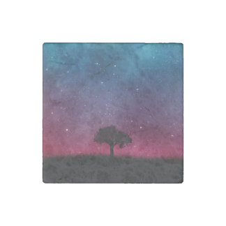 Black Tree Space Galaxy Cosmos Blue Pink Scenery Stone Magnets