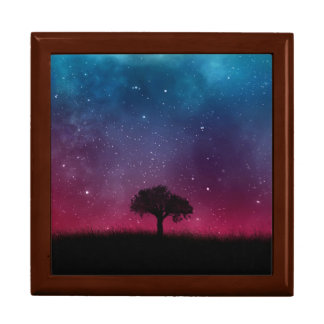 Black Tree Space Galaxy Cosmos Blue Pink Scenery Trinket Boxes