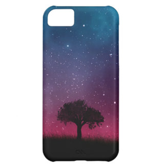 Black Tree Space Galaxy Cosmos Blue Pink Sky iPhone 5C Cover