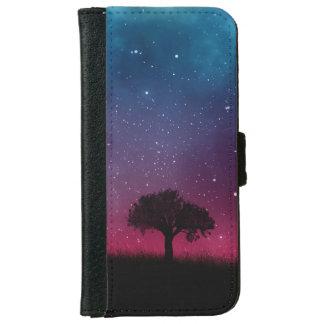 Black Tree Space Galaxy Cosmos Blue Pink Sky iPhone 6 Wallet Case