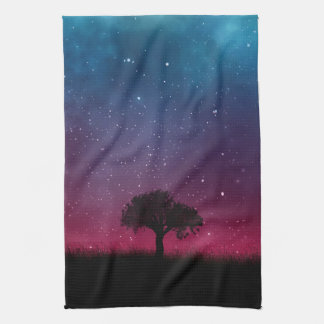 Black Tree Space Galaxy Cosmos Blue Pink Sky Kitchen Towel