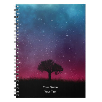 Black Tree Space Galaxy Cosmos Blue Pink Sky Notebooks