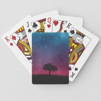 Black Tree Space Galaxy Cosmos Blue Pink Sky Playing Cards