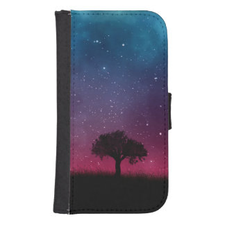 Black Tree Space Galaxy Cosmos Blue Pink Sky Samsung S4 Wallet Case