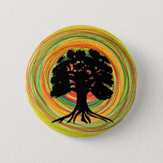 Black Tree Sun design brooch 2 Inch Round Button