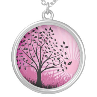 Black Tree With Pink Sky Necklace