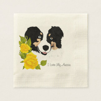 Black Tri Aussie and Yellow Roses Paper Napkins