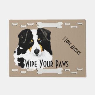 Black Tri Aussie & Dog Bones Doormat