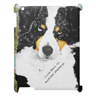 Black Tri Australian Shepherd Portrait iPad Covers