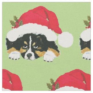Black Tri Australian Shepherd Pup Holiday Fabric