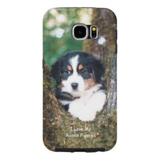 Black Tri Australian Shepherd Puppy S6 Samsung Galaxy S6 Cases