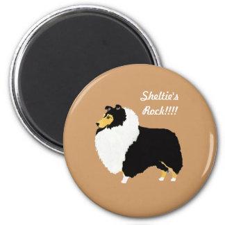 Black Tri Shetland Sheepdogs Rock!!! 2 Inch Round Magnet