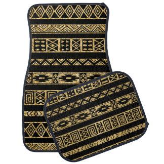 Black Tribal And Gold Glitter Floor Mat