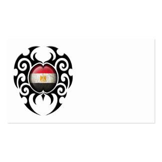 Black Tribal Cracked Egyptian Flag Business Card