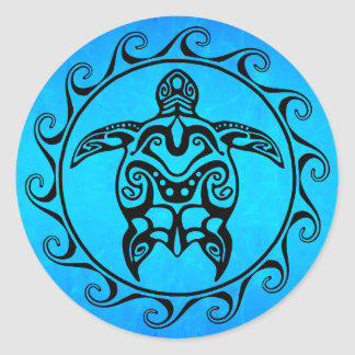 Black Tribal Turtle Classic Round Sticker