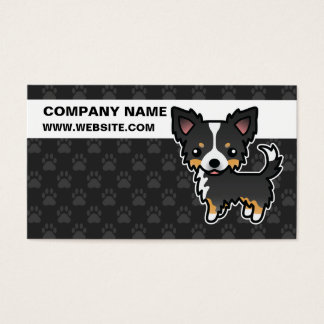 Black Tricolor Long Coat Chihuahua Cartoon Dog Business Card