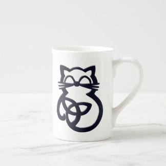 Black Trinity Knot Celtic Cat Bone China Mug