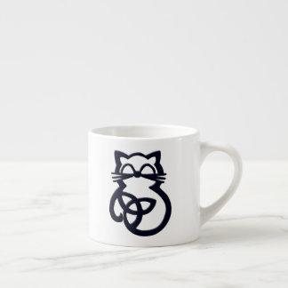 Black Trinity Knot Celtic Cat Espresso Mug