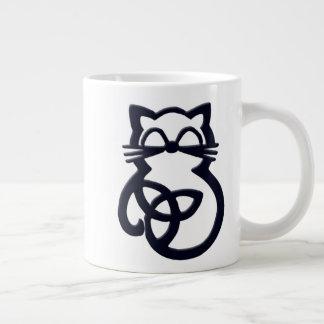 Black Trinity Knot Celtic Cat Jumbo Mug